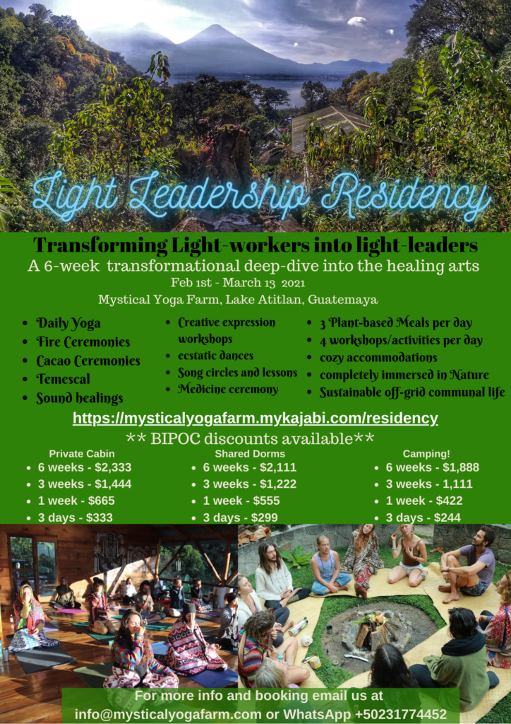 Check out https://mysticalyogafarm.mykajabi.com/residency for more info and booking!